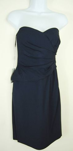 Philosophy 4 New Navy Blue Strapless Draped Dress Cocktail Party Bodycon S NWT #Philosophy #Bodycon #Cocktail