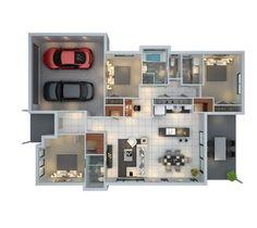 Plano de departamento de 3 habitaciones con estacionamiento