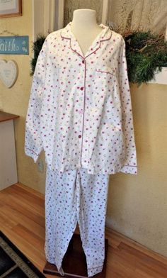 SIMPLY BASIC Women s Plus Size 3X White Floral FLANNEL PAJAMAS PJ S 100%  Cotton  SimplyBasic 790029745