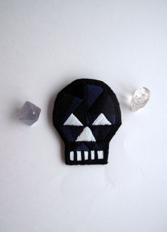 #Skull brooch with geometric design embroidered by #AnAstridEndeavor
