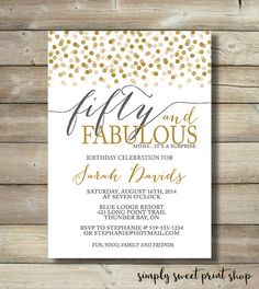 Fifty And Fabulous Birthday Invitation Any Age 50 & Fabulous Fifty Forty Sixty Gold Gray White 20 30 40 50 60 70 80 Adult Birthday Invite