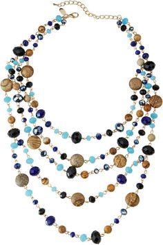 Greenbeads by Emily & Ashley Multi-Strand Mixed Crystal & Stone Necklace, Blue/Black/Multi