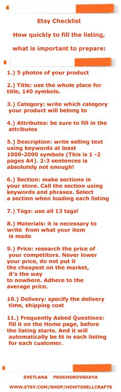 Hi! This information is about what is important to check in your listing on Etsy shop. Work hard on every point. Do not miss anything. Each point is critically important for success and sales on Etsy. To make easy for you to promote your store and products on Etsy, read e-book Etsy Shop Seo for Begginers. Good sales to you on Etsy!