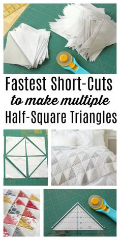 for making and squaring-up multiple Half Square Triangle Quilt Blocks at once. Video tips and time-saving tutorial.Short-cuts for making and squaring-up multiple Half Square Triangle Quilt Blocks at once. Video tips and time-saving tutorial. Quilting For Beginners, Quilting Tips, Quilting Tutorials, Quilting Projects, Quilting Designs, Sewing Projects, Craft Projects, Triangle Quilt Tutorials, Beginner Quilting