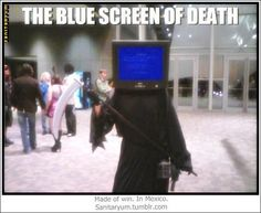 The blue screen of death Funny Picture Humor Meme Funny Cat Memes, Funny Cartoons, Memes Humor, Funny Humor, Funny Stuff, Computer Humor, Funny Baby Photography, Funny Happy Birthday Wishes, Funny Text Conversations