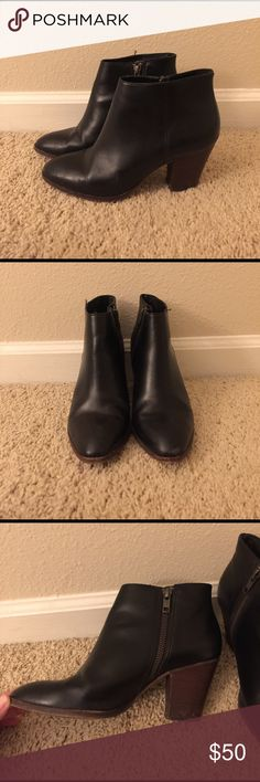 J Crew leather ankle booties Leather black booties. Currently sold out at j crew! J Crew Shoes Ankle Boots & Booties