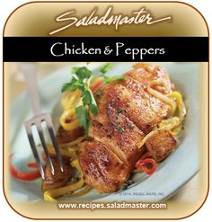 #OilFree Chicken & Peppers | #Saladmaster #Recipes | For more #healthy dinner ideas, check out www.recipes.saladmaster.com #316ti #Titanium #StainlessSteel #Cookware #LifetimeWarranty