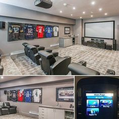 60 Basement Man Cave Design Ideas For Men - Manly Home Interiors. Home Theatre With Sports Theme Basement Man Cave Ideas Discover a secret spot in the home with the top 60 best basement man cave design ideas for men. Explore cool manly home interiors. Man Cave Designs, Man Cave Garage, Man Cave Basement, Garage Bar, Basement Bars, Basement Flooring, Man Cave Room, Man Cave Diy, Man Cave Home Bar