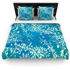Woven Duvet Cover Iris Lehnhardt Twigs Silhouette Teal Great Gift... ($132) ❤ liked on Polyvore featuring home, bed & bath, bedding, duvet covers, grey, home & living, teal blue bedding, grey bedding, teal pillow shams and gray bedding