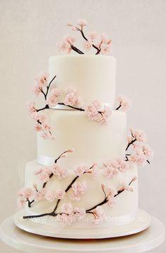 Trendy Wedding Cakes Fondant White Ideas (With images) Fondant Wedding Cakes, White Wedding Cakes, Cool Wedding Cakes, Beautiful Wedding Cakes, Wedding Cake Designs, Fondant Cakes, Beautiful Cakes, Wedding White, Cherry Blossom Cake