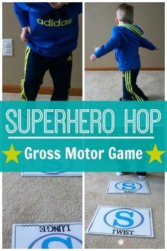 Superhero Gross Motor Game – Superhero Hop A fun gross motor game for your superheros!