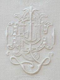 We should start designing through stitching and sewing - wouldn't that be unique! Inspiration: beautiful antique monogramed linen