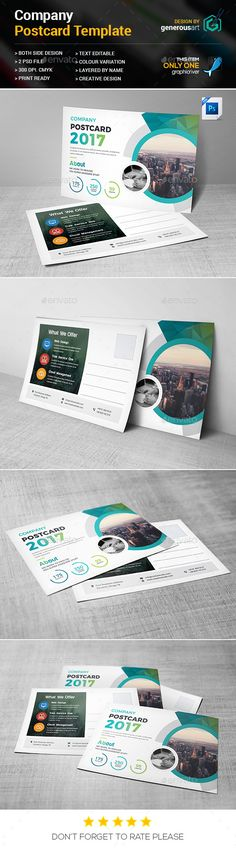 Buy Company Postcard by generousart on GraphicRiver. File Information: Easy Customizable and Editable Postcard in with bleed CMYK Color Design in 300 DPI Res. Direct Mail Design, Business Postcards, Postcard Template, Different Colors, Green Landscape, Graphic Design, Templates, Simple, Creative