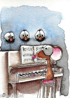 ACEO Original watercolor Folk Art Whimsical painting Mouse crow piano man