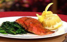 Salmon with Whole Grain Dijon and Rapini recipe | Veria