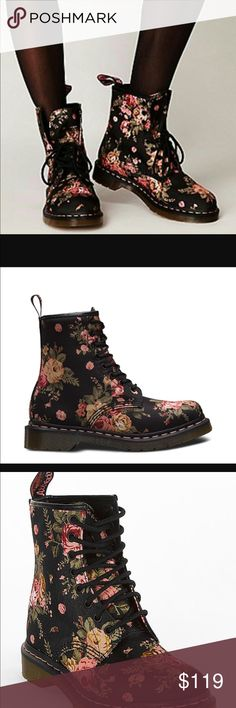 FLASH SALE Dr. Martens Floral Boots. Size 10 Brand new!! So cute Dr. Martens Shoes Lace Up Boots
