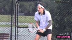 Celebrities That Play Tennis | John Mayer trots around a tennis court in high-hemmed shorts and a ...