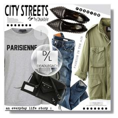 """""""City Streets"""" by myfashionwardrobestyle ❤ liked on Polyvore featuring City Streets, NLST, H&M, Kale, Dead Legacy, Yves Saint Laurent, Ray-Ban, Balenciaga, women's clothing and women"""