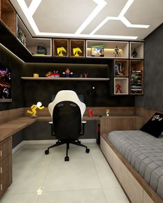 Gamer room: 45 incredible ideas and inspirations! - Gamer room: 45 incredible ideas and inspirations! Gamer room: 45 incredible ideas and in - Computer Gaming Room, Gaming Room Setup, Gamer Setup, Gaming Rooms, Gamer Bedroom, Bedroom Setup, Room Design Bedroom, Boys Bedroom Decor, Home Office Setup