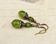 Green Earrings Olive Green Earrings Victorian Earrings
