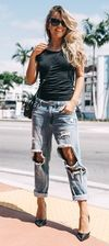 Trashed Jeans + Heels