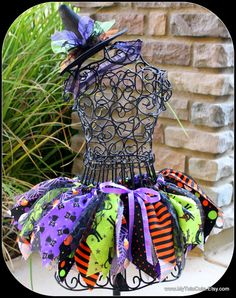 Witch Fabric Scraps Tutu Skirt Halloween MADE TO by mytutucute,