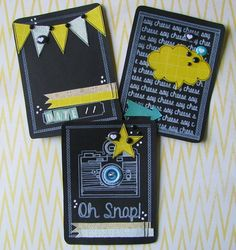 Picture Perfect Chalkboard Camera Project Life Cards - Set of 3 - Handmade Stitched 3 x 4