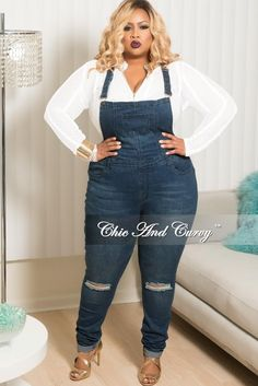 f2ce01a472f Final Sale Plus Size Distressed Overalls in Dark Denim