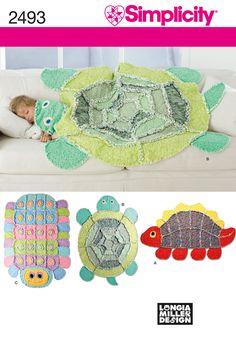 Rag Quilt: turtle, caterpillar, dinosaur