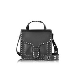 Rebecca Minkoff Black Studded Leather Midnighter Top Handle Feed Bag