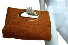60s Burnt Orange Heavy Fabric Purse with Cutout by Vintageables, $159.00