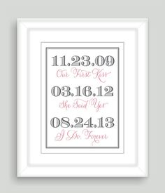 8x10 Important Special Dates Art Print by NatalieDesignStudio, $19.00