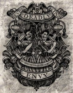 Envy Art Print from Deadly - SALE (Miscellaneous Posters). Envy Art Print Features Victorian artwork depicting one of the 7 deadly sins. These Fine Art Prints from Deadly are printed on heavy weight, archival luster gloss paper Seven Deadly Sins Tattoo, Seven Deadly Sins Symbols, Sin Tattoo, Lace Tattoo, Tattoo Black, Tattoo Arm, 7 Sins, Se7en, Incredible Tattoos