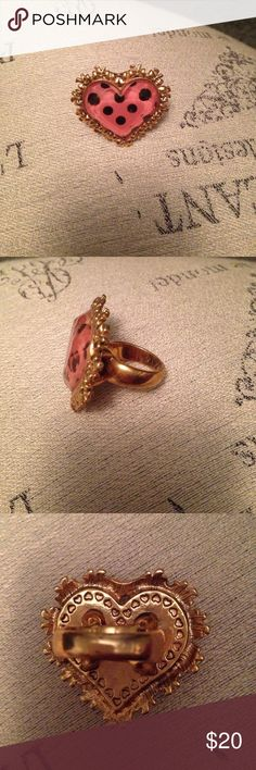 Betsy Johnson heart ring In good condition Betsy Johnson heart ring sku 934 Betsey Johnson Jewelry Rings