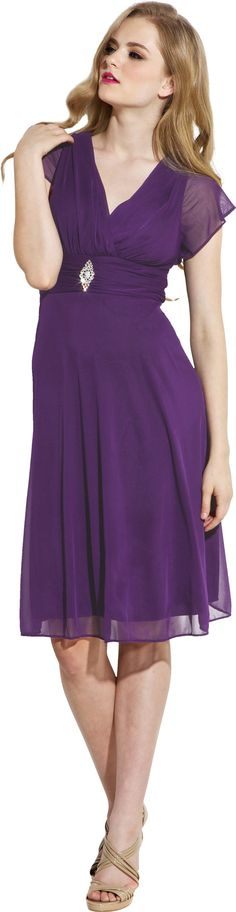 Short Sleeve Mesh Knee-Length Bridesmaid Dress at Amazon Women's Clothing store: Mother Of The Groom Dresses