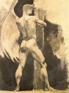 Archangel by Nikolaos Gyzis Guy Drawing, Drawing Sketches, Art Drawings, Figure Drawings, Classic Artwork, Art Of Man, Social Art, Sketch Inspiration, Greek Art