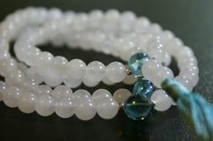 108 ct. 8mm Snow Quartz Mala with Aqua by LobsterIslandBeadery
