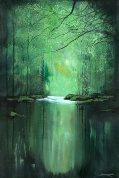 """Saatchi Art Artist: Andrew Keola; Acrylic 2013 Painting """"Tranquil River"""""""