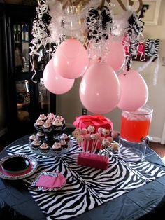 Zebra party idea -- Hang balloons and streamers from a chandelier for an absolutely adorable and fun (and cheap) decoration! Zebra Birthday, Hello Kitty Birthday, Cool Birthday Cakes, Birthday Party Decorations, Birthday Parties, Birthday Ideas, Spa Birthday, Birthday Stuff, Husband Birthday