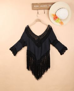Bohemian Crochet Women Shirts Causal Blouse Loose Fringe Tops with Patchwork…