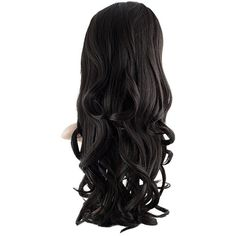 Eva Long Loose Curls Half-Head Wig In #2 Raven ($38) ❤ liked on Polyvore featuring beauty products, haircare and hair styling tools