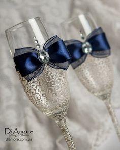 Champagne Flutes LACE Navy Wedding glasses Swarovski