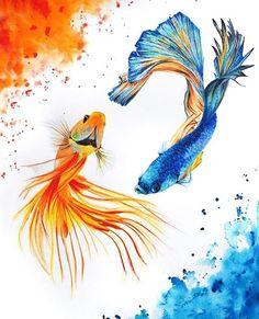 It's all about finding a happy balance. Stunning Yin Yang watercolor fish by Anya Berezkina! by artistic_share Watercolor Fish, Watercolor Animals, Watercolor Paintings, Watercolor Paper, Watercolors, Tattoo Watercolor, Watercolor Illustration, Fish Drawings, Art Drawings
