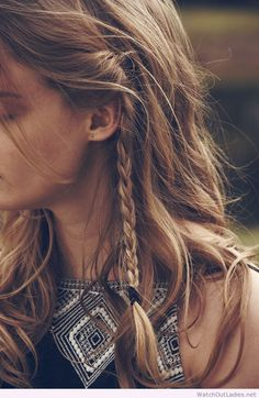 Plait front sections of your hair to keep it from falling in your face