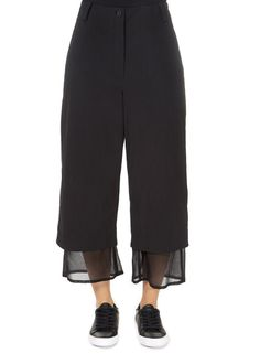This is the superb 'Even' Cropped Black Chiffon Hem Wide Leg Trousers by Annette Gortz! Featuring a flattering shape with a sweet. Leggings Style, Leggings Fashion, Grey Cargo Pants, Wide Leg Trousers, Chiffon, Shape, Legs, Sweet, Clothing