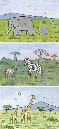 African Animal Series by david scheirer - Watercolor and Ink