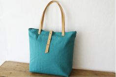 Teal Canvas tote bag with vegetable tanned leather by MeryBradley, $97.00