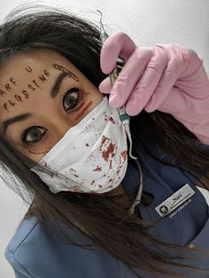 """Dental Hygienist Halloween Costume. """"Have you been flossing? Because I'm feeling a little stabby today"""" -your dental hygienist from hell. #dentalhygienist #dental #dentalhygiene #halloweencostume #dentalcostume #rdh Follow @naramayo16 on Instagram"""