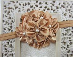 Gold Flower Headband - Champagne Gold Satin Flowers with Pearls Gold Headband - The Grace - Baby Headband, Toddler, Child Girls Headband