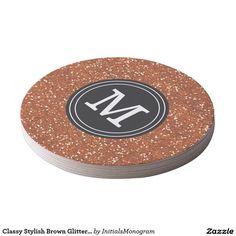 Classy Stylish Brown Glitter Custom Monogram Round Paper Coaster